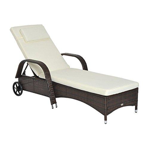 Outsunny Gartenliege Sonnenliege Rattanliege Gartenmöbel Liege mobil mit Kissen, Polyrattan+Metall, Kaffeebraun, 200x73x56-103cm