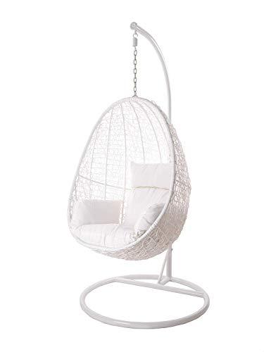 Kideo Swing Chair Indoor & Outdoor, Loungesessel Polyrattan, Hängestuhl, Hängesessel mit Gestell & Kissen (weiß/weiß)