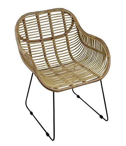 animal-design Rattanstuhl Venus Korb-Sessel – Natur – Retro 50er Lounge Loft Esszimmer Garten Küche Bistro Balkon Terrasse mit Armlehne, Farbe:Natur