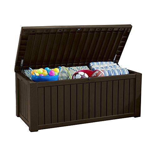 Koll Living Auflagenbox / Kissenbox Koll Living 570 Liter l 100% Wasserdicht l mit Belüftung dadurch kein übler Geruch / Schimmel l Moderne Holzoptik l Deckel belastbar bis 250 KG ( 2 Personen ) (Braun)