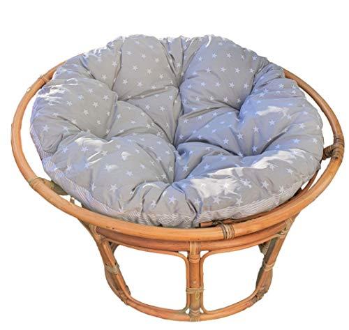Totsy Baby 2 in 1 Krabbeldecke rund und papasansessel Kissen – großes Bodenkissen gepolsterte Matratze Spielteppich Sitzkissen Hängesessel Polster grau-weiß Ø 110 cm