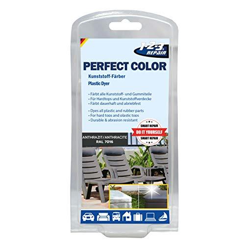 Perfect-Color Kunststoff Aufbereitung – Polyrattan Gartenmöbel Camping Anthrazit mit Schwamm
