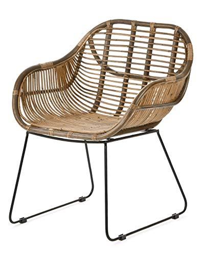 animal-design Rattan-Stuhl Korb-Stuhl Korb-Sessel braun mit Armlehne – Lounge Vintage Retro Loft Esszimmer Garten Küche Bistro Balkon Terrasse