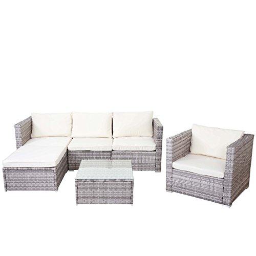 Mendler Poly-Rattan-Garnitur Brescia, Gartengarnitur Sitzgruppe Sofa Lounge-Set ~ grau, Kissen Creme