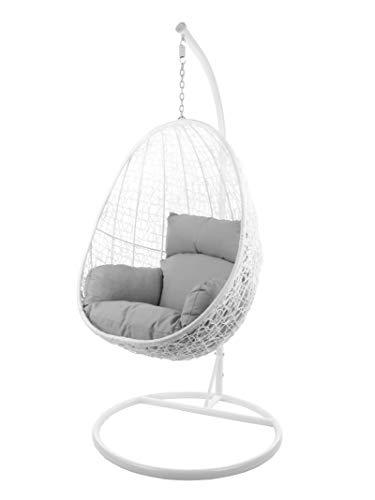 Kideo® Komplettset: Hängesessel mit Gestell & Kissen, Indoor & Outdoor, Poly-Rattan, Lounge (Gestell- und Korbfarbe: weiß, Kissen: grau Nest (8008 Cloud))