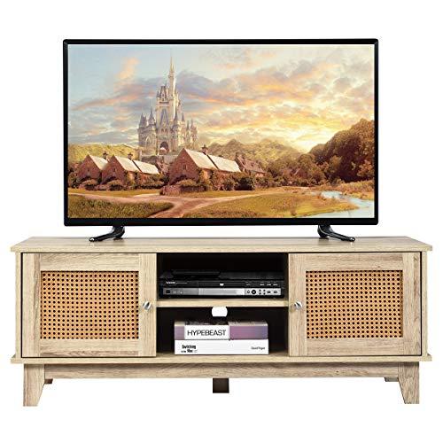 COSTWAY Fernsehtisch für Fernseher vis zu 55 Zoll, Lowboard mit höhenverstellbaren Ablagen und offene Regalen, Landhausstil TV Board mit 2 Rattan Türen, Fernsehschrank für Wohnzimmer und Schlafzimmer