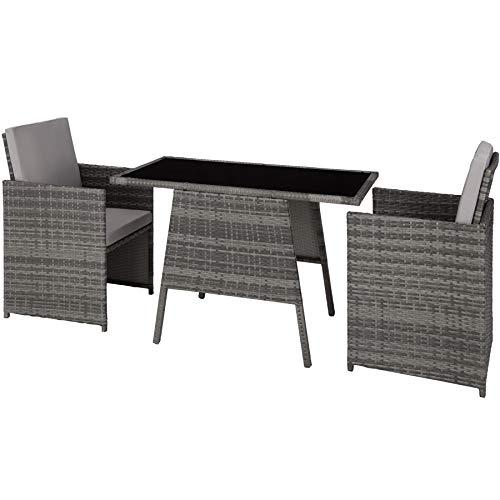 TecTake 800682 Polyrattan Sitzgruppe für 2 Personen, zusammenschiebbar, 2 Stühle & 1 Tisch mit Glasplatte, inkl. Sitz- und Rückenkissen – Diverse Farben – (Grau | Nr. 403097)