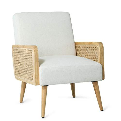 Loungesessel Samt Sessel Beige relaxsessel mit Rattan Armlehne für Wohnzimmer und Schlafzimmer 64.5W X 74D X 83H cm Polsterstuhl Beige