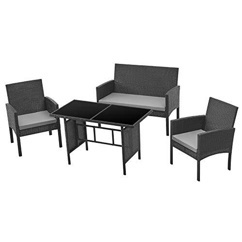 SVITA Brooklyn XL Rattan Garten Möbel Set Essgruppe mit Tisch, 2X Sessel, 2er Sofa Polyrattan Schwarz