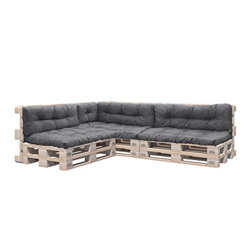 Pillows24 Palettenkissen 8-teiliges Set | Palettenauflage Polster für Europaletten | Hochwertige Palettenpolster | Palettensofa Indoor & Outdoor | Erhältlich Made in EU | Dunkelgrau