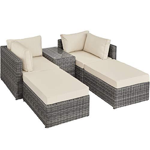 TecTake 800694 Aluminium Polyrattan Multifunktions Loungegruppe Gartensofa mit Tisch, für Garten oder Terrasse, vielseitig kombinierbar, inkl. Polster – Diverse Farben (Grau | Nr. 403169)