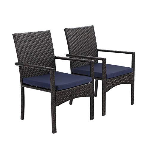 PHIVILLA 2er Set Gartenstuhl mit Kissen Stahlrahmen Outdoor Rattan Stuhl Sessel für Garten Hof Wasserdicht Rostfrei