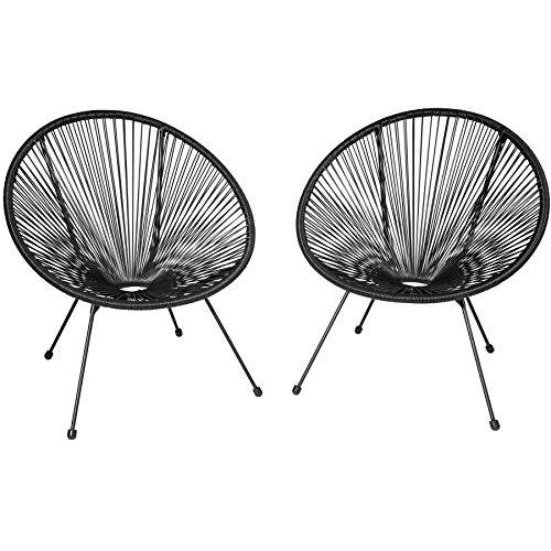 TecTake 800729 2er Set Acapulco Garten Stuhl, Lounge Sessel im Retro Design, Indoor und Outdoor, pflegeleicht, Relaxsessel zum gemütlichen Sitzen – Diverse Farben – (Schwarz   Nr. 403302)