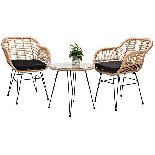 Casaria 3 TLG. Balkonset Beistelltisch 2 Lounge Sessel Indoor Outdoor Wetterfest Natur Poly Rattan-Look Sitzgruppe Garten Balkon Set