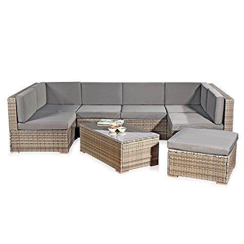 Melko Polyrattan Lounge XXL Sofa Garnitur Gartenmöbel Set Sitzgarnitur inklusive Kissen und Verbindungsclips