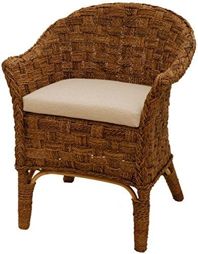Rattan-Sessel Natur Korb-Sessel Rattansessel Rattanstuhl mit Armlehnen Lounge Flechtsessel (Bananenblatt, mit Polster)