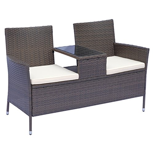 Outsunny Polyrattan Gartenbank Gartensofa Sitzbank mit Tisch 2-Sitzer Stahl Braun B133 x T63 x H84cm