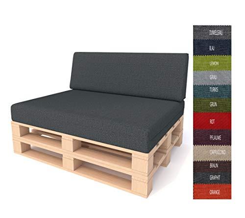 PILLOWS24 Palettenkissen 2-teiliges Set | Palettenauflage Polster für Europaletten | Hochwertige Palettenpolster | Palettensofa Indoor & Outdoor | Erhältlich in verschiedenen Farben | Made in EU