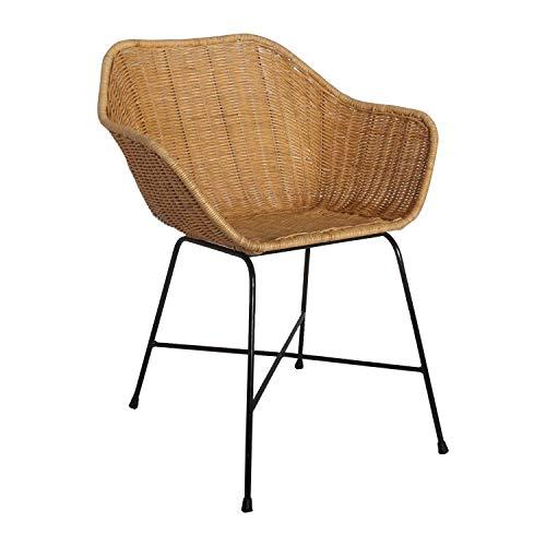 Casa Moro Rattan-Sessel Barcelona mit Armlehne | Rattanstuhl aus Naturrattan handgeflochten | Premium Qualität Korb-Stuhl Vintage Korb-Sessel | Retro-Stuhl für Küche Garten Terrasse Esszimmer | IDSN52